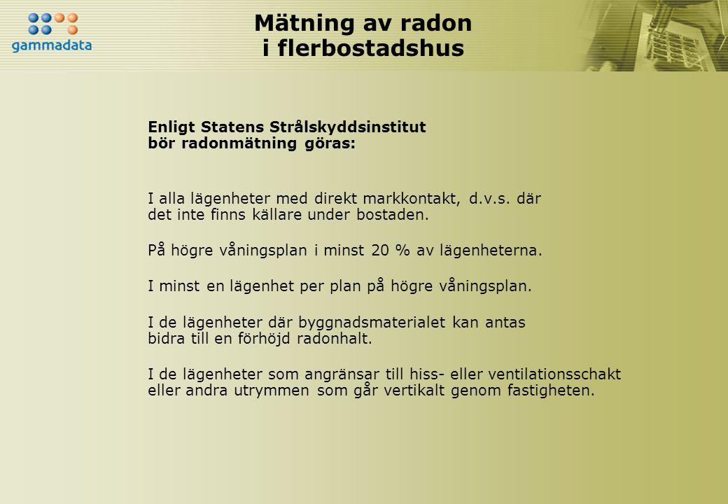 Mätning av radon i flerbostadshus Enligt Statens Strålskyddsinstitut bör radonmätning göras: I alla lägenheter med direkt markkontakt, d.v.s. där det