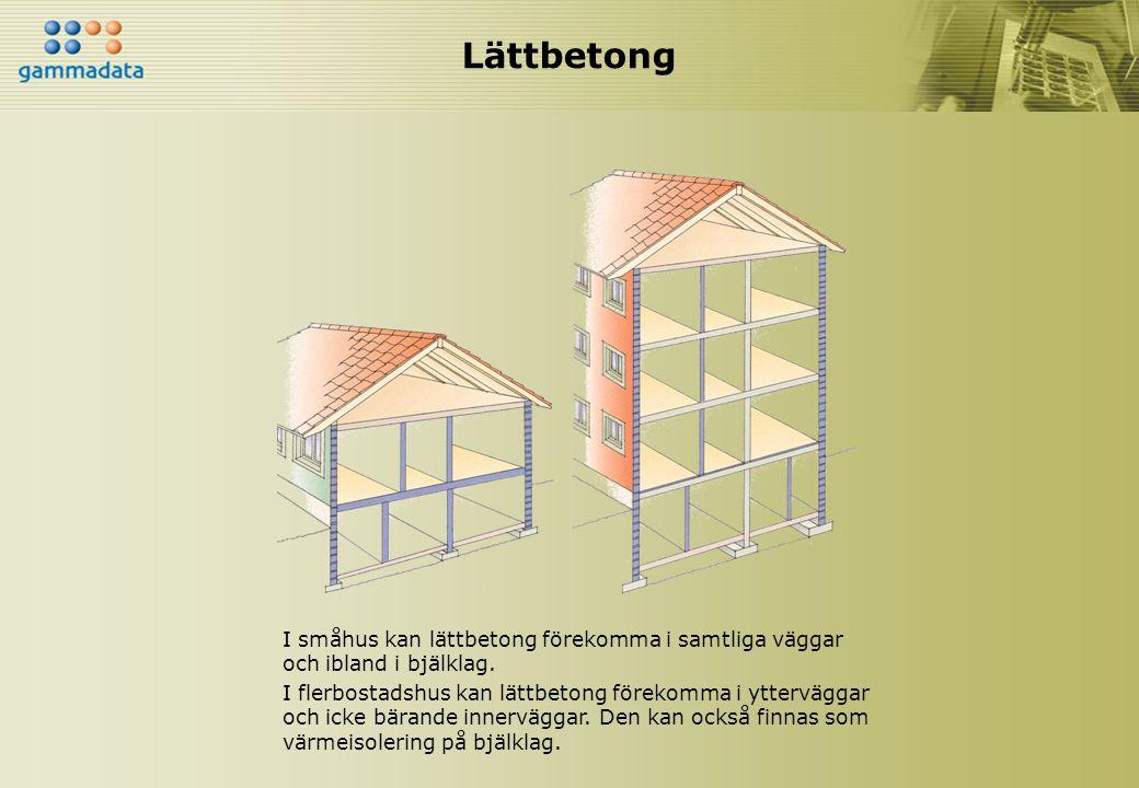Lättbetong I småhus kan lättbetong förekomma i samtliga väggar och ibland i bjälklag. I flerbostadshus kan lättbetong förekomma i ytterväggar och icke