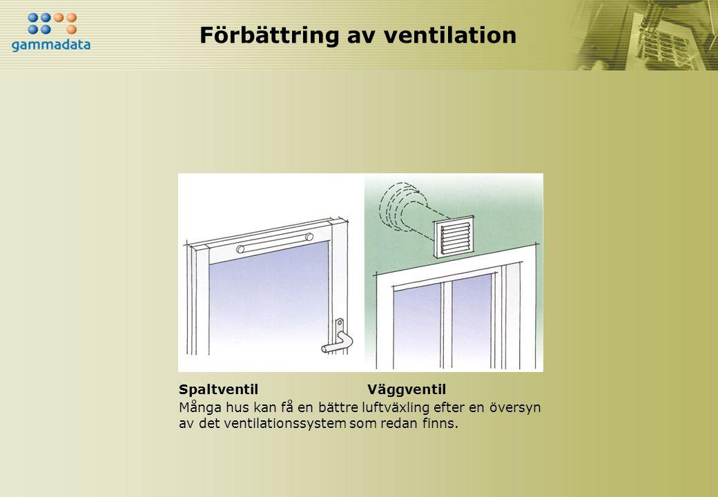 Förbättring av ventilation SpaltventilVäggventil Många hus kan få en bättre luftväxling efter en översyn av det ventilationssystem som redan finns.