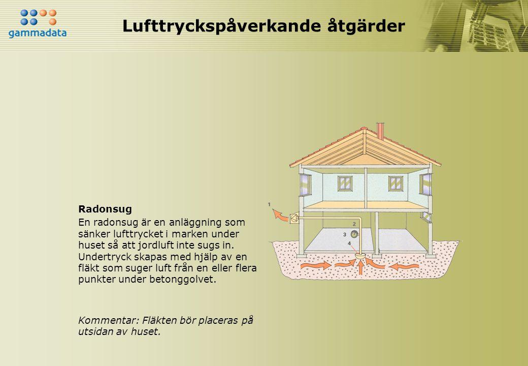 Lufttryckspåverkande åtgärder Radonsug En radonsug är en anläggning som sänker lufttrycket i marken under huset så att jordluft inte sugs in. Undertry
