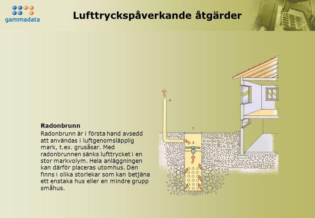 Lufttryckspåverkande åtgärder Radonbrunn Radonbrunn är i första hand avsedd att användas i luftgenomsläpplig mark, t.ex. grusåsar. Med radonbrunnen sä