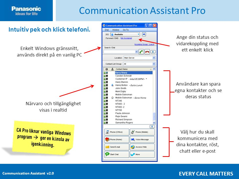 Communication Assistant v2.0 EVERY CALL MATTERS Communication Assistant Pro Intuitiv pek och klick telefoni.