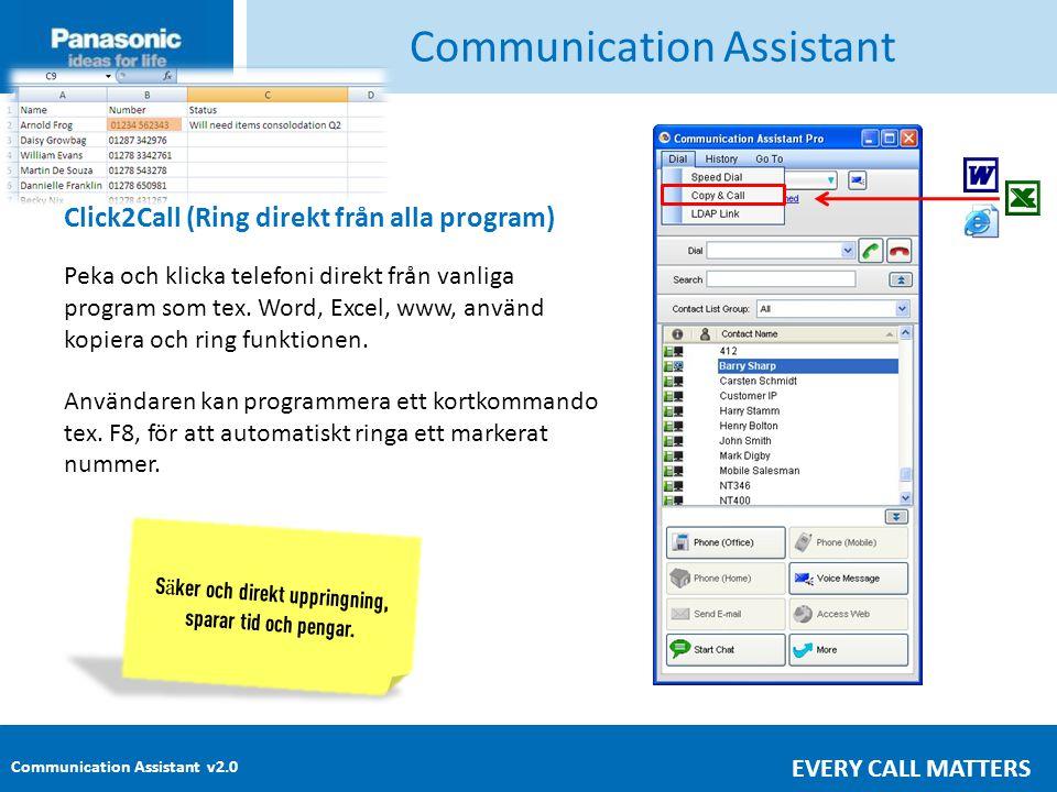Communication Assistant v2.0 EVERY CALL MATTERS Communication Assistant Click2Call (Ring direkt från alla program) Peka och klicka telefoni direkt från vanliga program som tex.