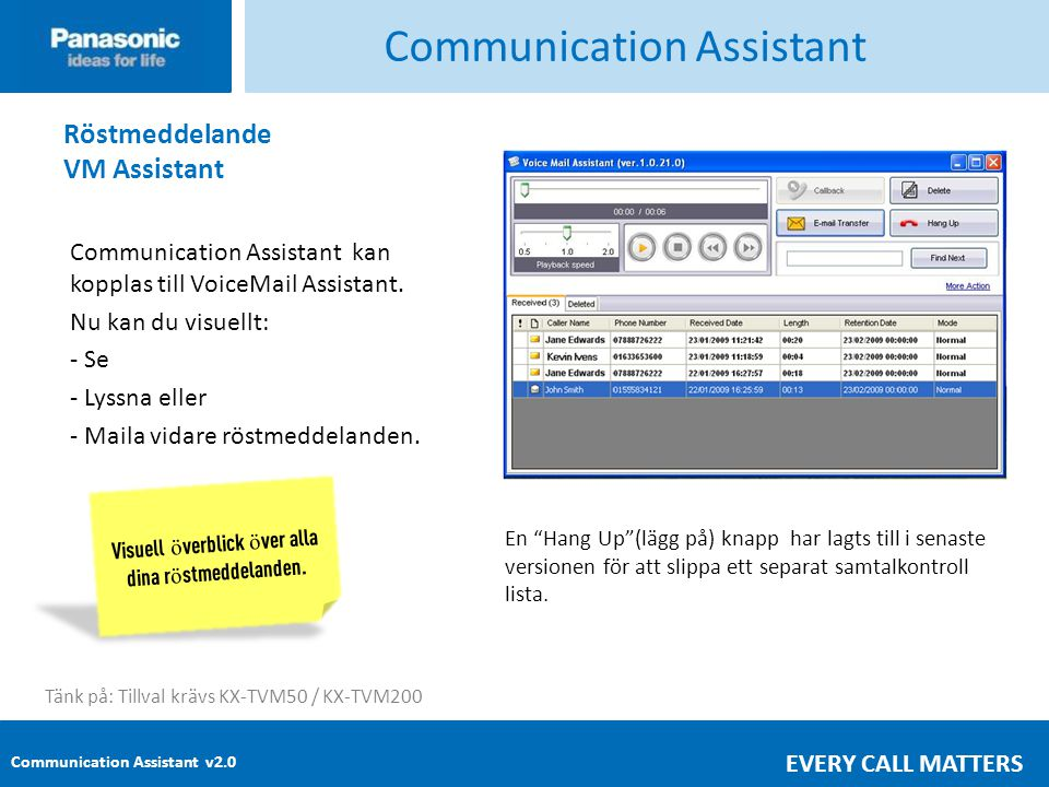 Communication Assistant v2.0 EVERY CALL MATTERS Communication Assistant Röstmeddelande VM Assistant Communication Assistant kan kopplas till VoiceMail