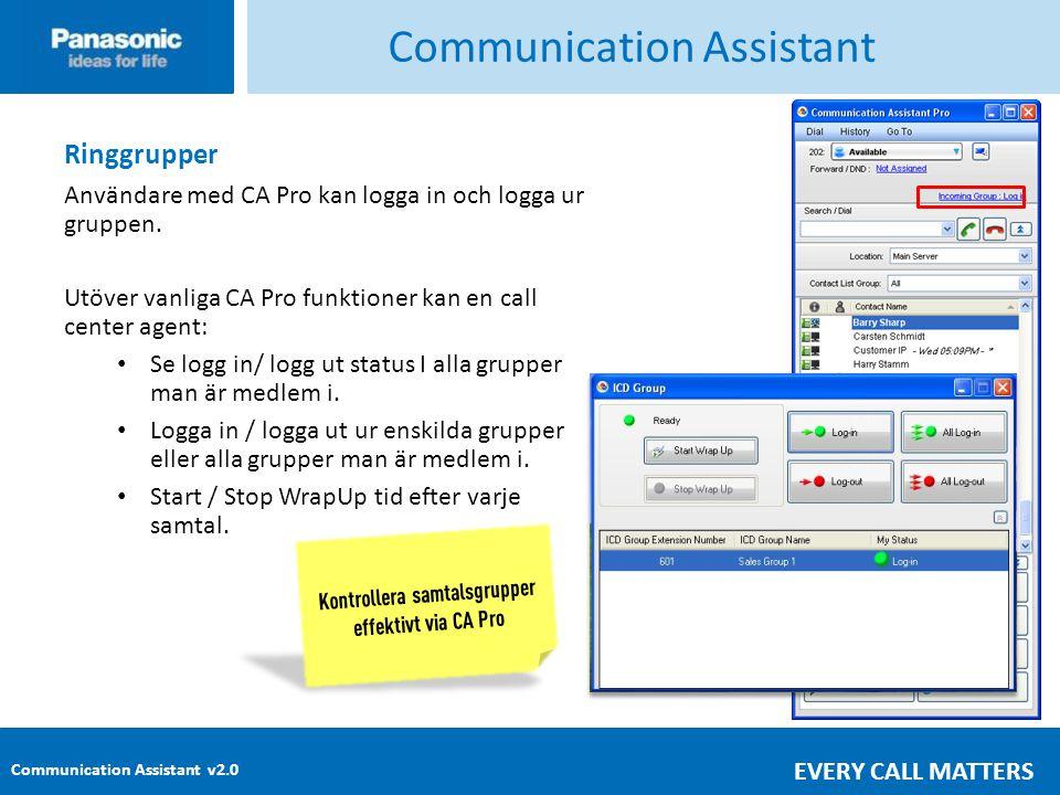 Communication Assistant v2.0 EVERY CALL MATTERS Communication Assistant Ringgrupper Användare med CA Pro kan logga in och logga ur gruppen.