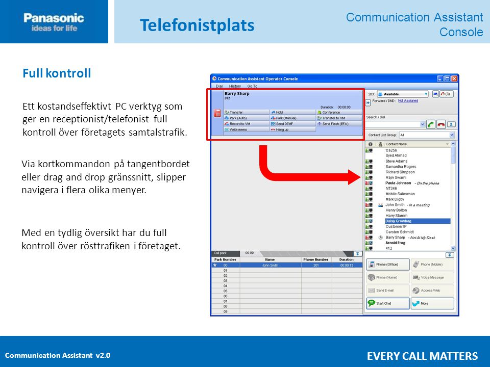 Communication Assistant v2.0 EVERY CALL MATTERS Full kontroll Ett kostandseffektivt PC verktyg som ger en receptionist/telefonist full kontroll över företagets samtalstrafik.