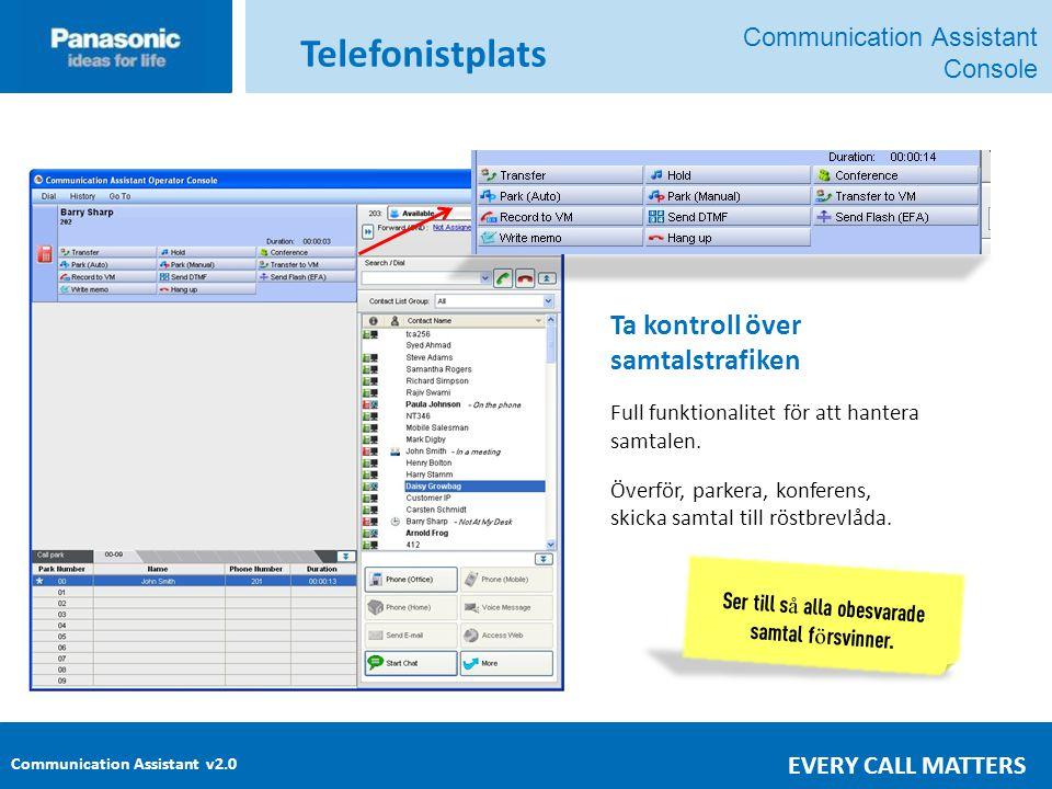 Communication Assistant v2.0 EVERY CALL MATTERS Ta kontroll över samtalstrafiken Full funktionalitet för att hantera samtalen.