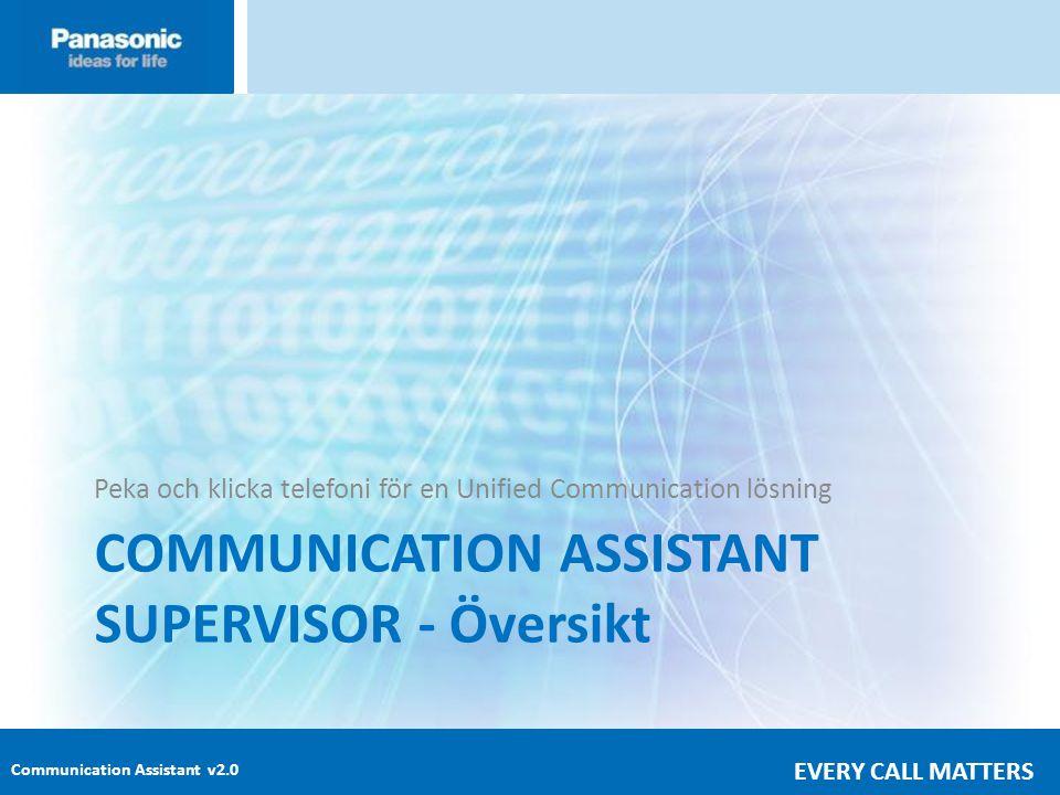 Communication Assistant v2.0 EVERY CALL MATTERS COMMUNICATION ASSISTANT SUPERVISOR - Översikt Peka och klicka telefoni för en Unified Communication lösning