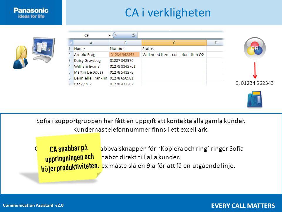 Communication Assistant v2.0 EVERY CALL MATTERS CA i verkligheten Sofia i supportgruppen har fått en uppgift att kontakta alla gamla kunder.
