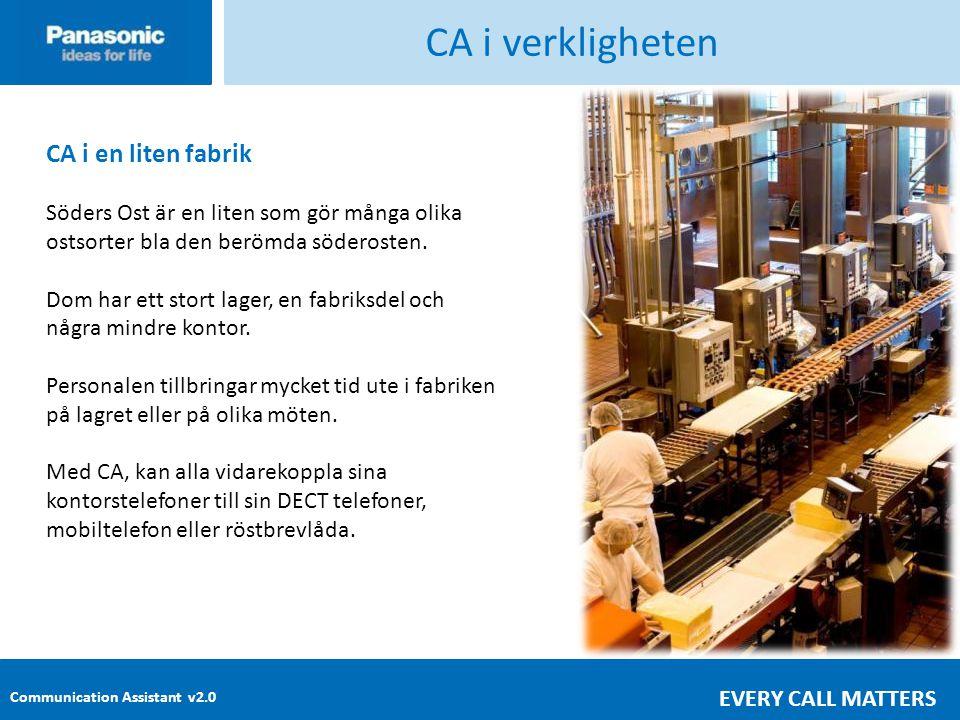 Communication Assistant v2.0 EVERY CALL MATTERS CA i verkligheten CA i en liten fabrik Söders Ost är en liten som gör många olika ostsorter bla den berömda söderosten.
