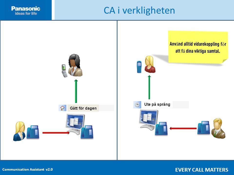 Communication Assistant v2.0 EVERY CALL MATTERS CA i verkligheten Anv ä nd alltid vidarekoppling f ö r att f å dina viktiga samtal.