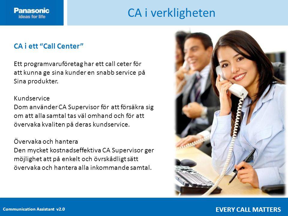 Communication Assistant v2.0 EVERY CALL MATTERS CA i verkligheten CA i ett Call Center Ett programvaruföretag har ett call ceter för att kunna ge sina kunder en snabb service på Sina produkter.
