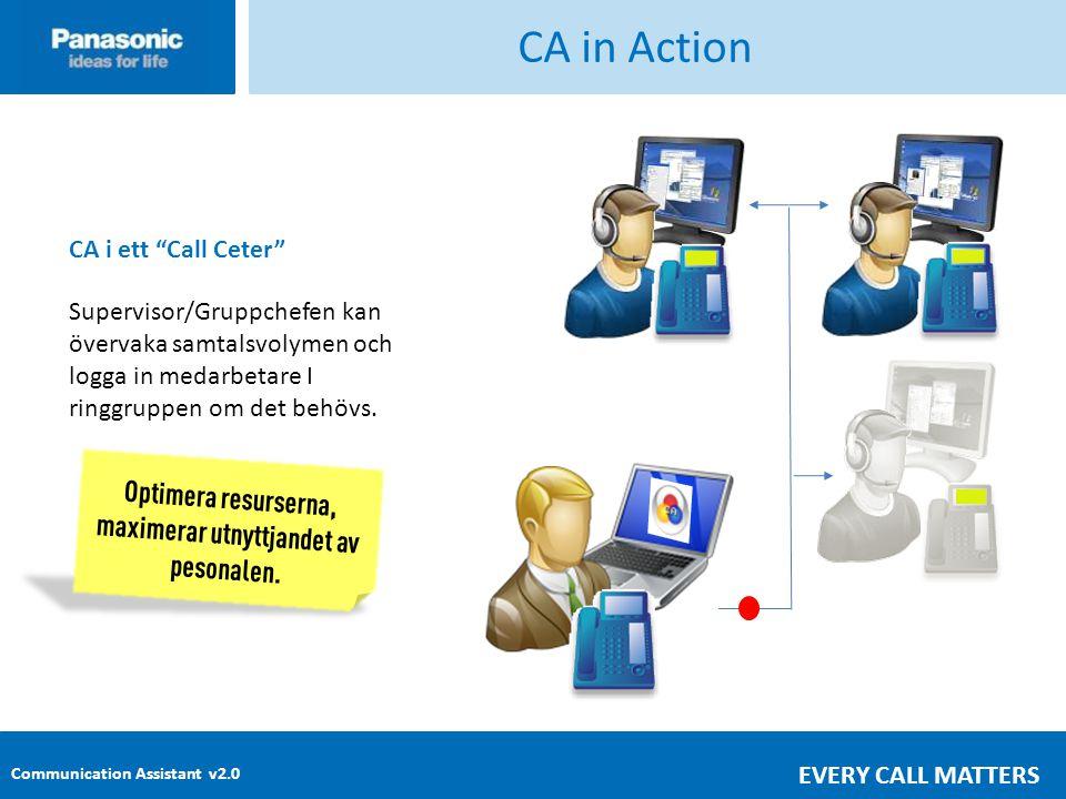 Communication Assistant v2.0 EVERY CALL MATTERS CA in Action CA i ett Call Ceter Supervisor/Gruppchefen kan övervaka samtalsvolymen och logga in medarbetare I ringgruppen om det behövs.