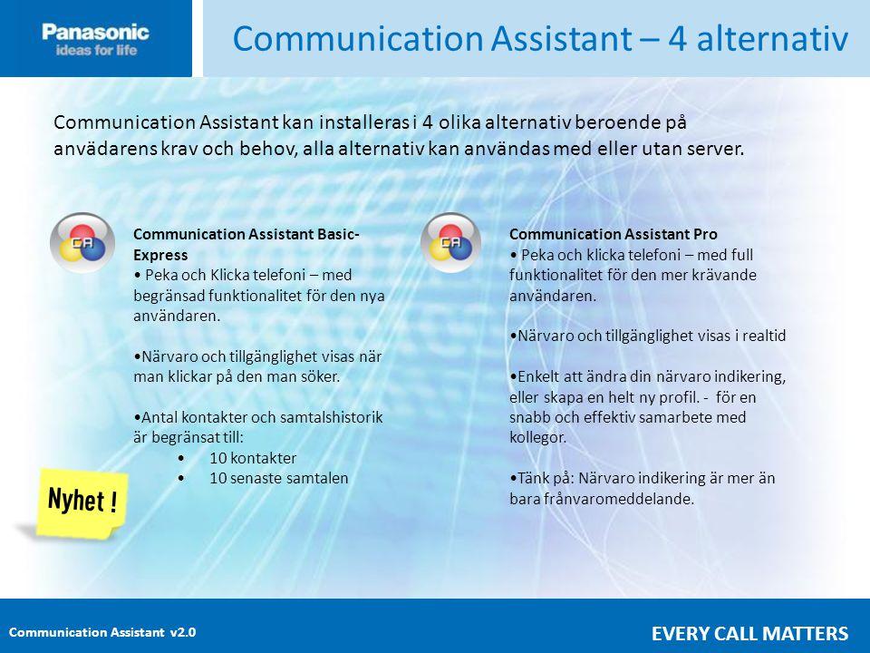 Communication Assistant v2.0 EVERY CALL MATTERS Communication Assistant – 4 alternativ Communication Assistant kan installeras i 4 olika alternativ beroende på anvädarens krav och behov, alla alternativ kan användas med eller utan server.