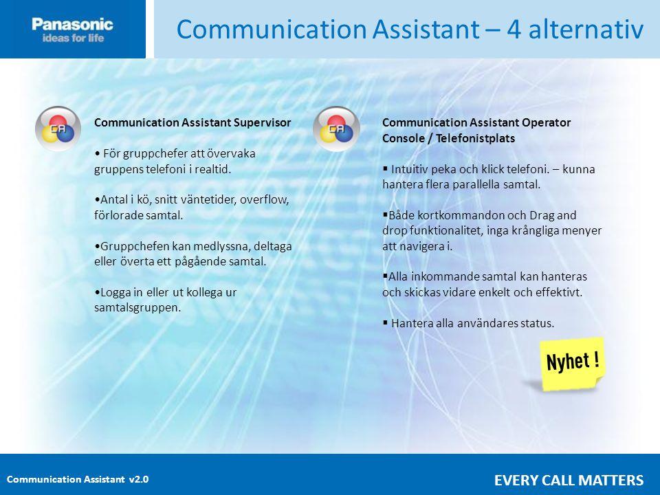 Communication Assistant v2.0 EVERY CALL MATTERS Communication Assistant – 4 alternativ Communication Assistant Supervisor • För gruppchefer att övervaka gruppens telefoni i realtid.
