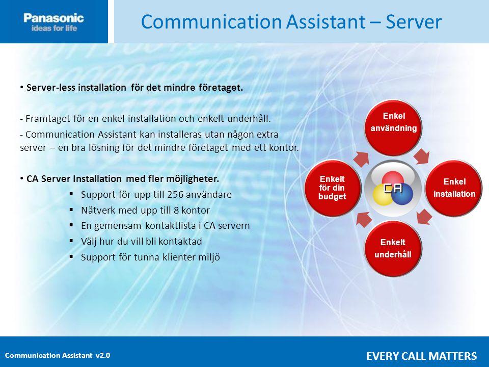 Communication Assistant v2.0 EVERY CALL MATTERS Communication Assistant – Server • Server-less installation för det mindre företaget.