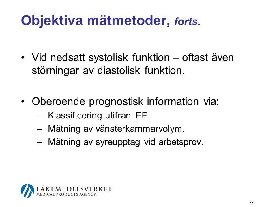 25 Objektiva mätmetoder, forts. •Vid nedsatt systolisk funktion – oftast även störningar av diastolisk funktion. •Oberoende prognostisk information vi