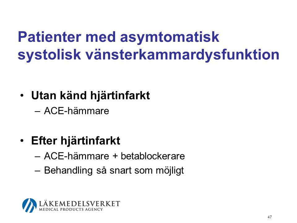 47 Patienter med asymtomatisk systolisk vänsterkammardysfunktion •Utan känd hjärtinfarkt –ACE-hämmare •Efter hjärtinfarkt –ACE-hämmare + betablockerar