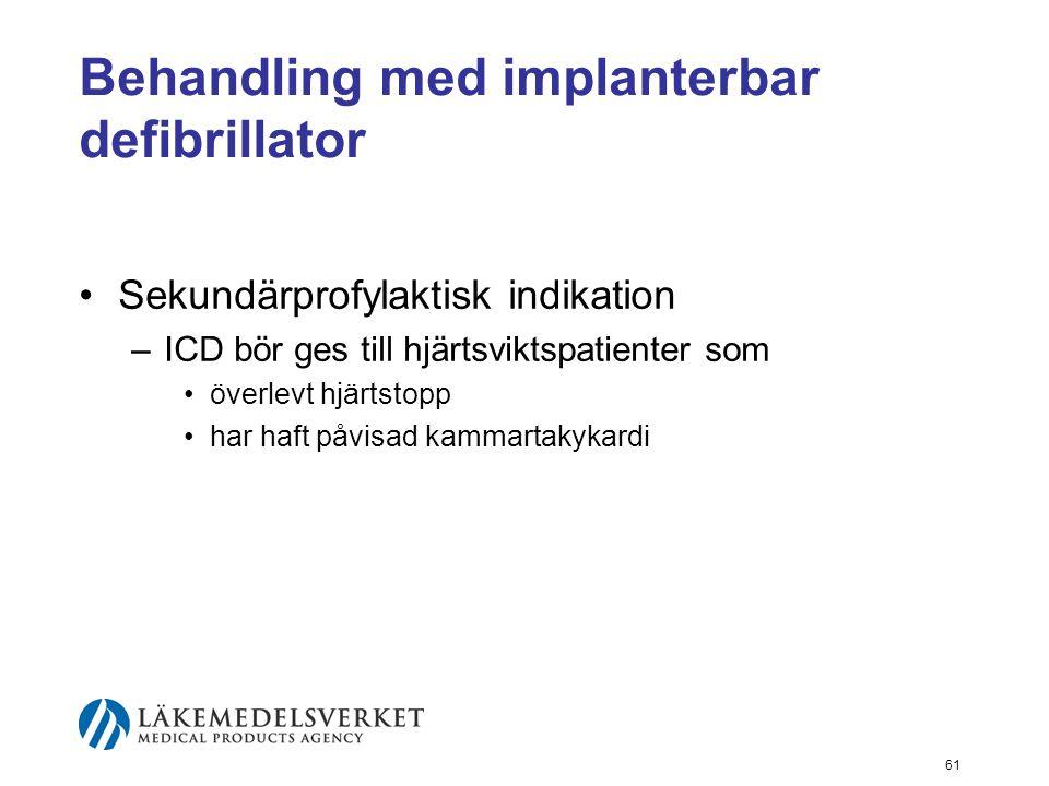 61 Behandling med implanterbar defibrillator •Sekundärprofylaktisk indikation –ICD bör ges till hjärtsviktspatienter som •överlevt hjärtstopp •har haf