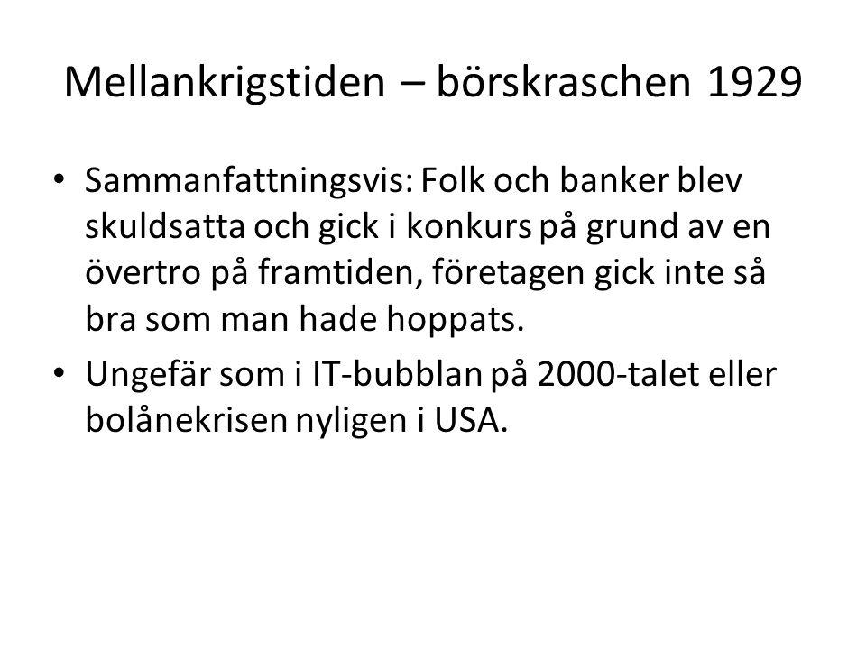 Mellankrigstiden – börskraschen 1929 • Sammanfattningsvis: Folk och banker blev skuldsatta och gick i konkurs på grund av en övertro på framtiden, för