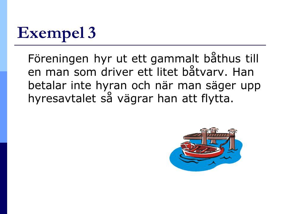Exempel 3 Föreningen hyr ut ett gammalt båthus till en man som driver ett litet båtvarv. Han betalar inte hyran och när man säger upp hyresavtalet så