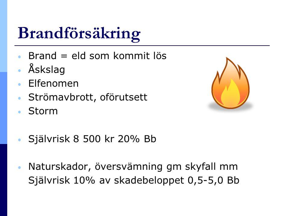 Brandförsäkring • Brand = eld som kommit lös • Åskslag • Elfenomen • Strömavbrott, oförutsett • Storm • Självrisk 8 500 kr 20% Bb • Naturskador, övers