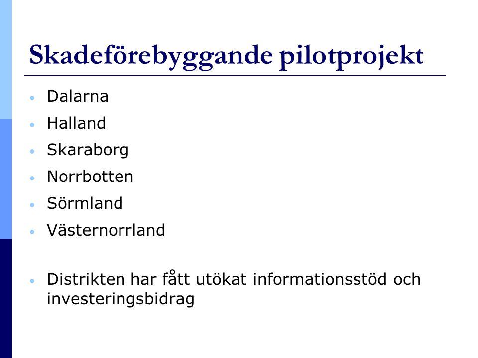 Skadeförebyggande pilotprojekt • Dalarna • Halland • Skaraborg • Norrbotten • Sörmland • Västernorrland • Distrikten har fått utökat informationsstöd