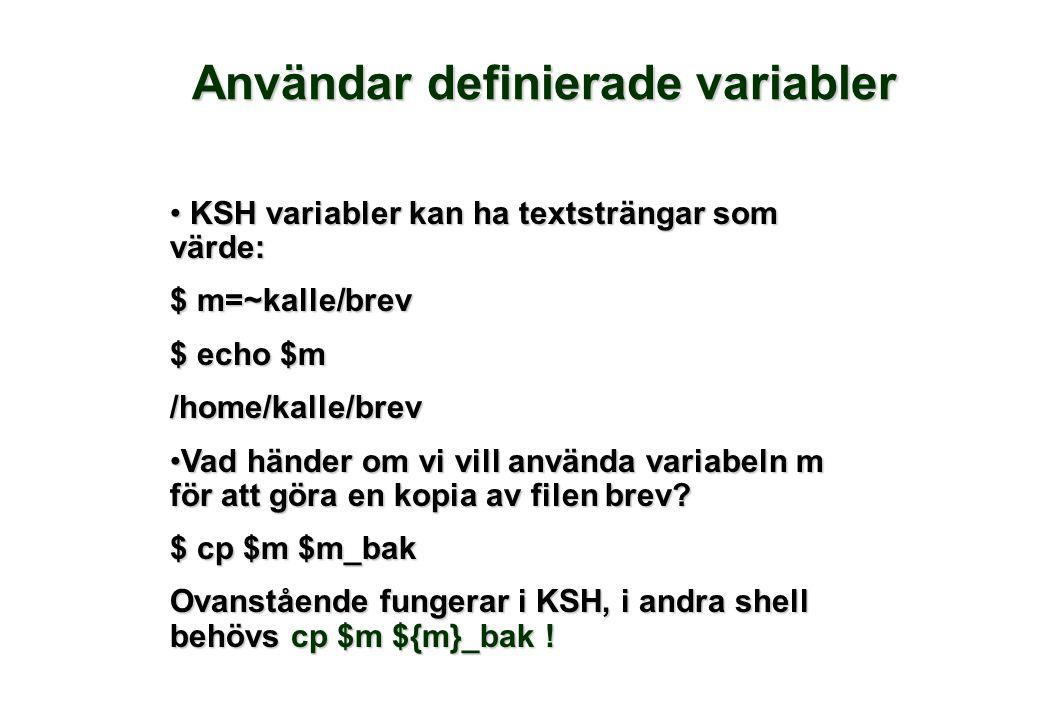 Användar definierade variabler • KSH variabler kan ha textsträngar som värde: $ m=~kalle/brev $ echo $m /home/kalle/brev •Vad händer om vi vill använd
