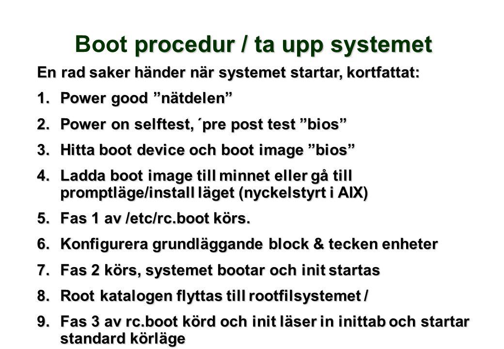 """procedur / ta upp systemet Boot procedur / ta upp systemet En rad saker händer när systemet startar, kortfattat: 1.Power good """"nätdelen"""" 2.Power on se"""