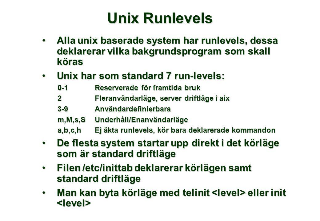 Unix Runlevels •Alla unix baserade system har runlevels, dessa deklarerar vilka bakgrundsprogram som skall köras •Unix har som standard 7 run-levels: