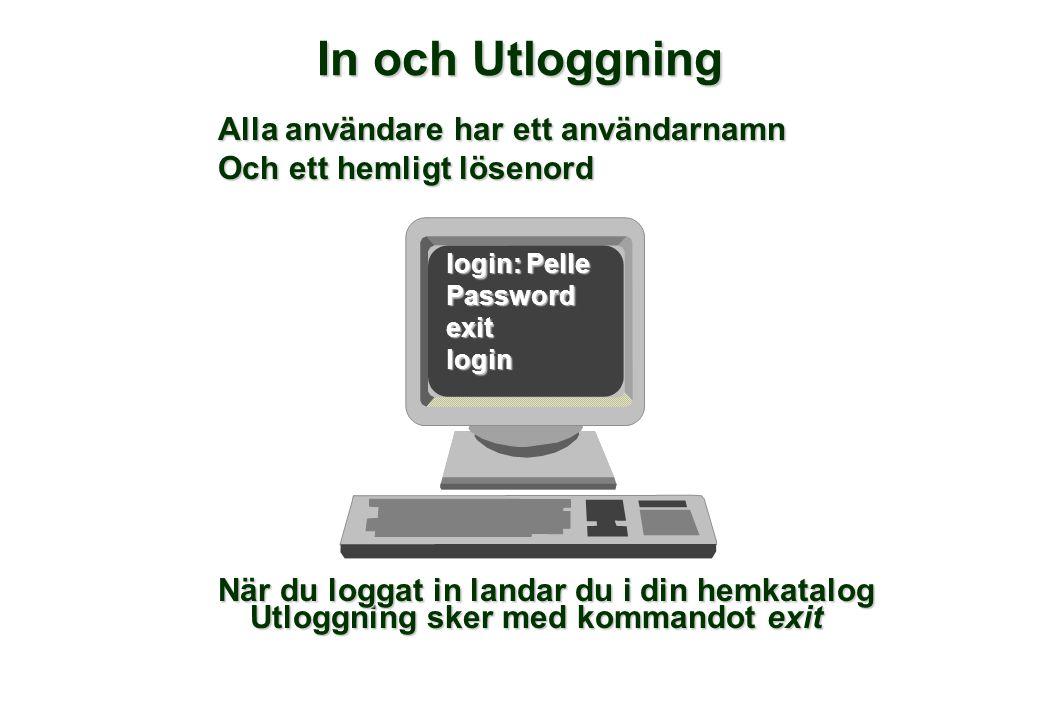 In och Utloggning Utloggning sker med kommandot exit login: Pelle Passwordexitlogin Alla användare har ett användarnamn Och ett hemligt lösenord När d
