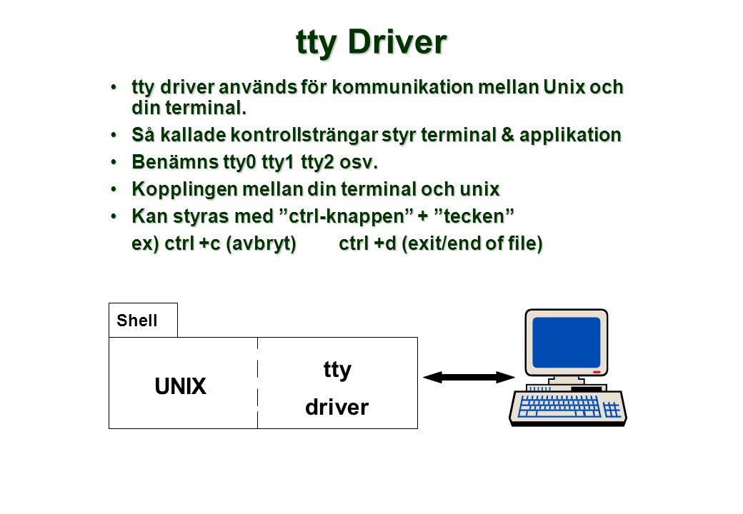 tty Driver •tty driver används för kommunikation mellan Unix och din terminal. •Så kallade kontrollsträngar styr terminal & applikation •Benämns tty0