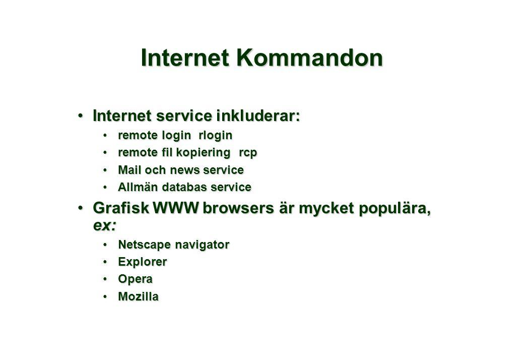 Internet Kommandon •Internet service inkluderar: •remote loginrlogin •remote fil kopieringrcp •Mail och news service •Allmän databas service •Grafisk