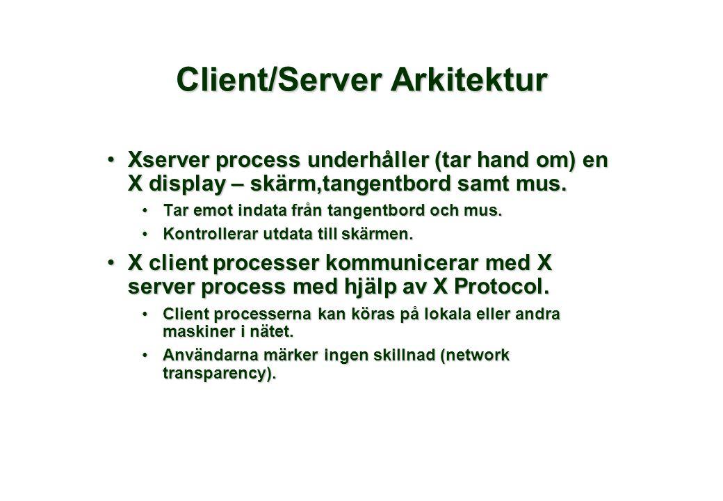 Client/Server Arkitektur •Xserver process underhåller (tar hand om) en X display – skärm,tangentbord samt mus. •Tar emot indata från tangentbord och m