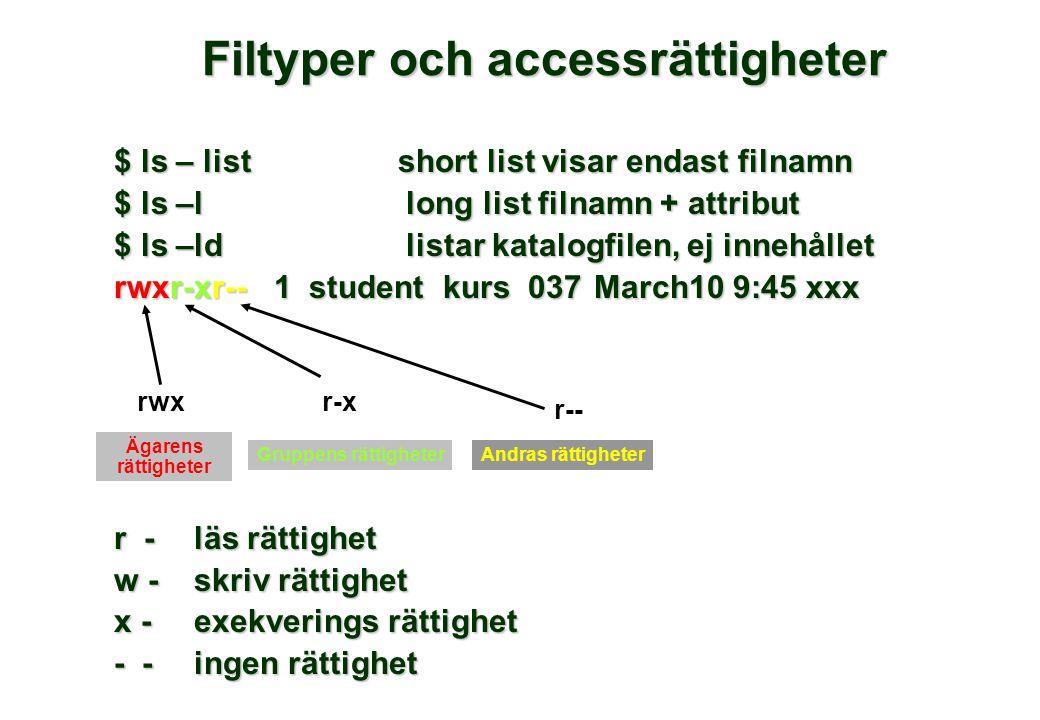 Filtyper och accessrättigheter $ ls – list short list visar endast filnamn $ ls –l long list filnamn + attribut $ ls –ld listar katalogfilen, ej inneh