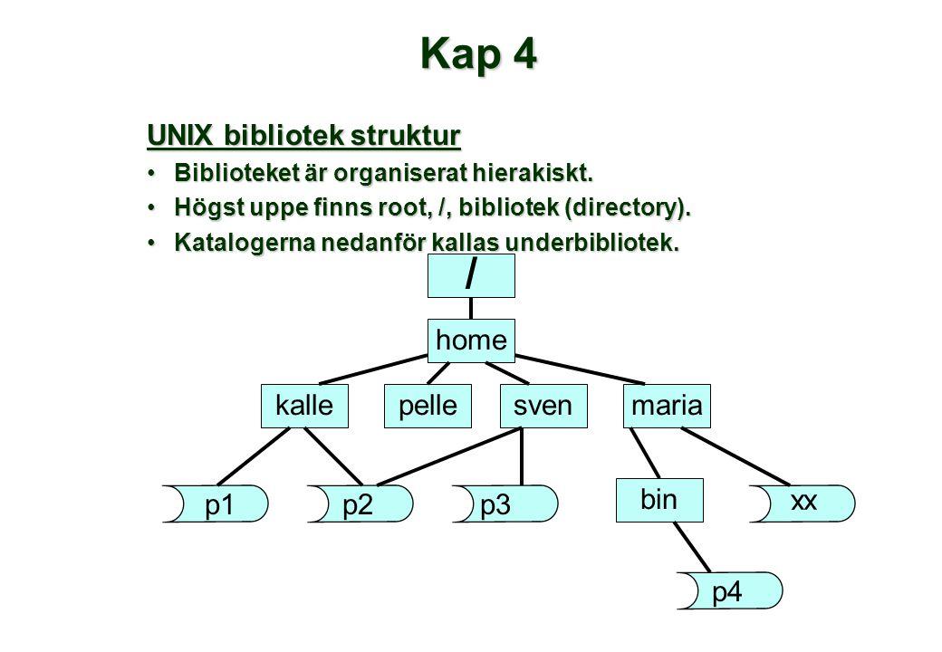 Kap 4 UNIX bibliotek struktur •Biblioteket är organiserat hierakiskt. •Högst uppe finns root, /, bibliotek (directory). •Katalogerna nedanför kallas u