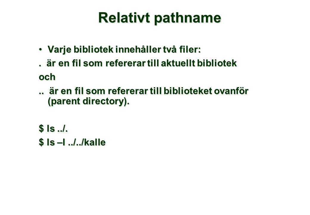 Relativt pathname •Varje bibliotek innehåller två filer:. är en fil som refererar till aktuellt bibliotek och.. är en fil som refererar till bibliotek