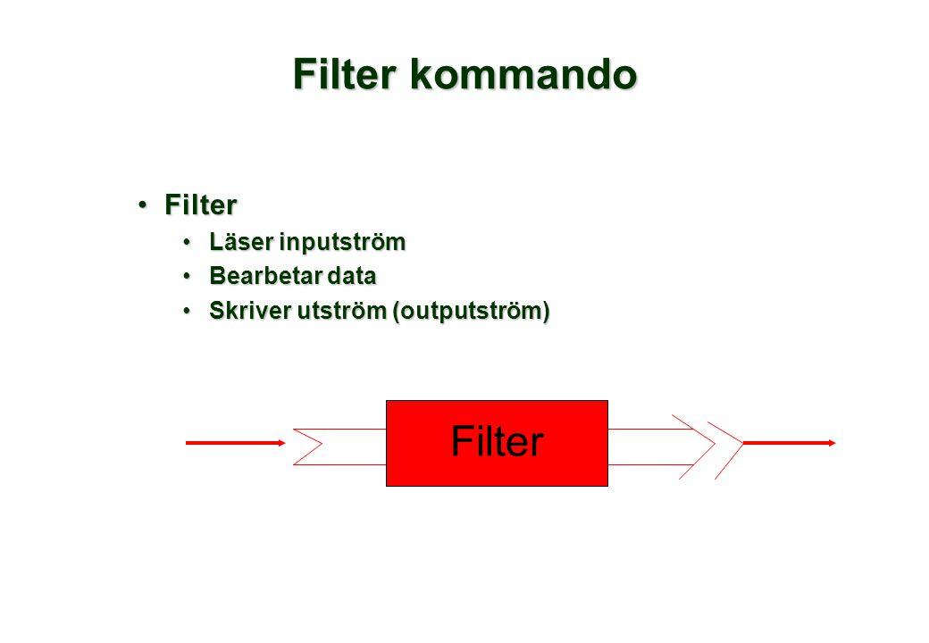 Filter kommando •Filter •Läser inputström •Bearbetar data •Skriver utström (outputström) Filter