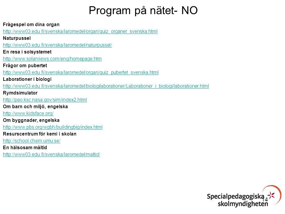 Program på nätet- NO Frågespel om dina organ http://www03.edu.fi/svenska/laromedel/organ/quiz_organer_svenska.html Naturpussel http://www03.edu.fi/sve