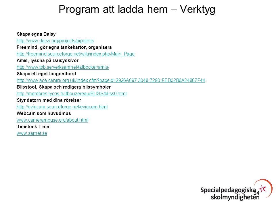 Program att ladda hem – Verktyg Skapa egna Daisy http://www.daisy.org/projects/pipeline/ Freemind, gör egna tankekartor, organisera http://freemind.so
