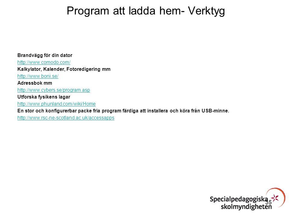 Program att ladda hem- Verktyg Brandvägg för din dator http://www.comodo.com/ Kalkylator, Kalender, Fotoredigering mm http://www.boni.se/ Adressbok mm