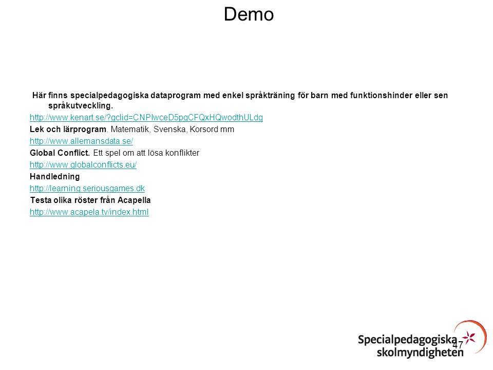 Demo Här finns specialpedagogiska dataprogram med enkel språkträning för barn med funktionshinder eller sen språkutveckling. http://www.kenart.se/?gcl