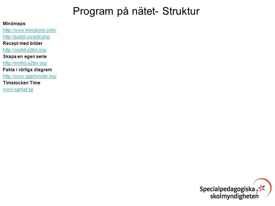 Program på nätet- Struktur Mindmaps http://www.mindomo.com/ http://bubbl.us/edit.php Recept med bilder http://cookit.e2bn.org/ Skapa en egen serie htt