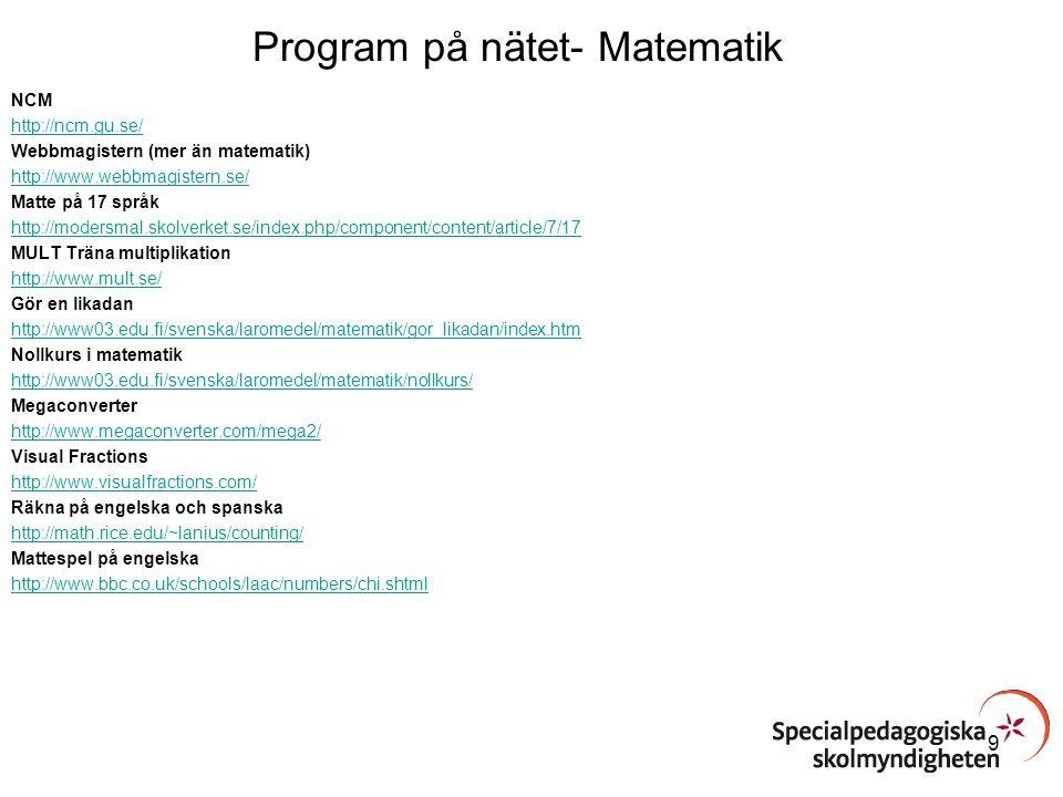 Program på nätet- Matematik NCM http://ncm.gu.se/ Webbmagistern (mer än matematik) http://www.webbmagistern.se/ Matte på 17 språk http://modersmal.sko