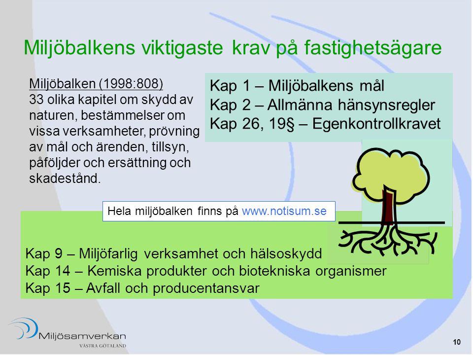 10 Miljöbalken (1998:808) 33 olika kapitel om skydd av naturen, bestämmelser om vissa verksamheter, prövning av mål och ärenden, tillsyn, påföljder och ersättning och skadestånd.