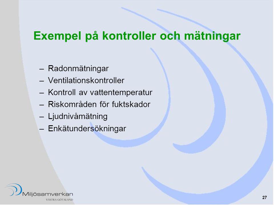 27 Exempel på kontroller och mätningar –Radonmätningar –Ventilationskontroller –Kontroll av vattentemperatur –Riskområden för fuktskador –Ljudnivåmätning –Enkätundersökningar
