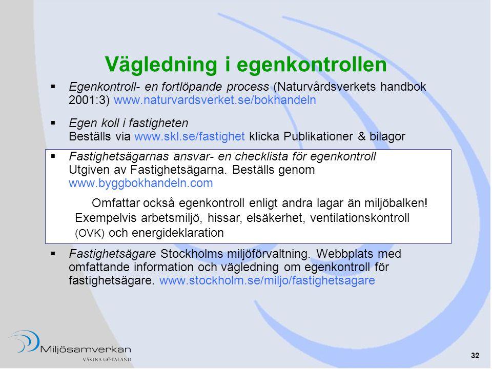 32 Vägledning i egenkontrollen  Egenkontroll- en fortlöpande process (Naturvårdsverkets handbok 2001:3) www.naturvardsverket.se/bokhandeln  Egen kol