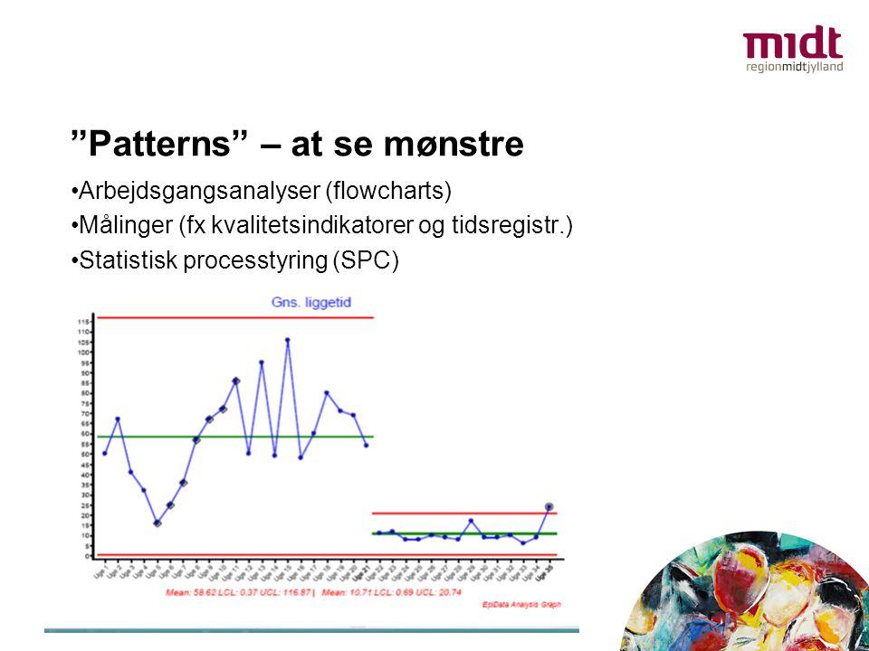 """Patterns"" – at se mønstre •Arbejdsgangsanalyser (flowcharts) •Målinger (fx kvalitetsindikatorer og tidsregistr.) •Statistisk processtyring (SPC)"