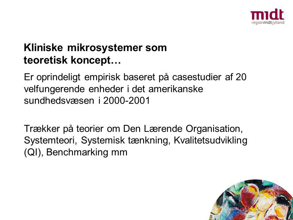 Kliniske mikrosystemer som teoretisk koncept… Er oprindeligt empirisk baseret på casestudier af 20 velfungerende enheder i det amerikanske sundhedsvæs