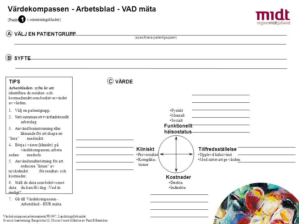 Värdekompassen - Arbetsblad - VAD mäta VÄLJ EN PATIENTGRUPP A (specificera patientgruppen) SYFTE B TIPS Arbetsbladets syfte är att: identifiera de res